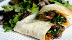 Vegan Recipe: Mushroom, Spinach, and Cheddar Wraps
