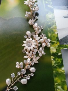 Light gold hair vine / headband with rhinestones and freshwater pearls. Lightweight and bendable - shape to the curve of your hair style.