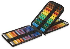 $28 120-pencils Global Canvas Pencil Case for 120 Pencils. Saw these at Asel art supplies - nice + compact w/ neat zipper that snapped closed for security