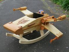 """Wooden X-wing, standing by! New Zealand crafter Steve Coupe builds a """"Star Wars"""" rocker that would impress even the likes of Yoda."""