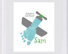 Items similar to Baby Footprint Art, Forever Prints hand and footprint keepsake for kids or baby. Mother's Day, New Mom, Nursery Art Baby In loving memory. on Etsy Daycare Crafts, Baby Crafts, Preschool Crafts, Mothers Day Crafts For Kids, Fathers Day Crafts, Toddler Art, Toddler Crafts, Baby Footprint Art, Airplane Crafts