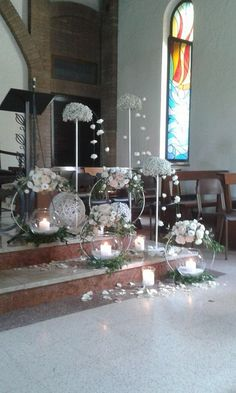 white church decor - New sites Church Wedding Decorations, Table Decorations, Rustic Wedding, Our Wedding, Dress Wedding, Floral Hoops, Church Flowers, Deco Floral, Diy Centerpieces