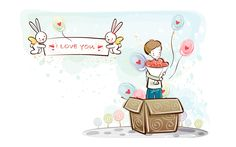 fondos de pantalla de dibujos animados de San Valentín (2) #14 - 1920x1200