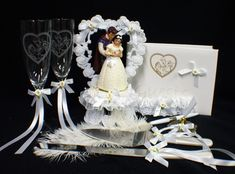 Disney SNOW WHITE Wedding Cake Topper lot Glasses Knife guest book garter. $189.00, via Etsy.