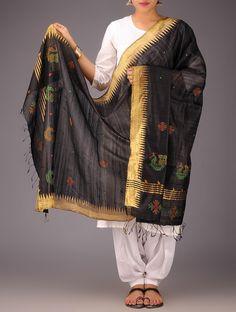 Black-Golden Tussar Silk Zari Kasuti Embroidered Dupatta - Buy > > Black-Golden Tussar Silk Zari Kasuti Embroidered Dupatta Online at Jaypore.com