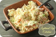 This delicious Lightened Up Coleslaw is made a bit healthier with a bit of Greek yogurt and will be a summer staple!