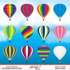 Hot Air Balloon Digital Clip Art - Hot-air Balloon Clipart - vector art Katie likes the green/navy/white one Hot Air Balloon Clipart, Hot Air Balloons, Rainbow Balloons, Red Balloon, Snow White Characters, Small Canvas Paintings, Balloon Painting, Air Ballon, Digital Scrapbook Paper