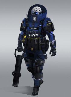 Juggernaut Police with battering ram Sci Fi Rpg, Sci Fi Armor, Futuristic Armour, Futuristic Art, Armadura Sci Fi, Combat Armor, Suit Of Armor, Body Armor, Future Soldier