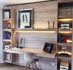 Interior Designs a Contemporary Apartment in Taipei – Trend Decor for You! Study Table Designs, Study Room Design, Home Library Design, Home Office Layouts, Home Office Setup, Home Office Space, Office Ideas, Modern Home Offices, Small Home Offices