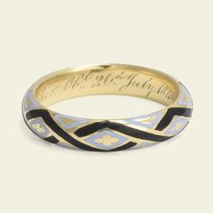 Mid Victorian Pale Blue and Black Enamel Mourning Ring for Edward Clay | Erica Weiner
