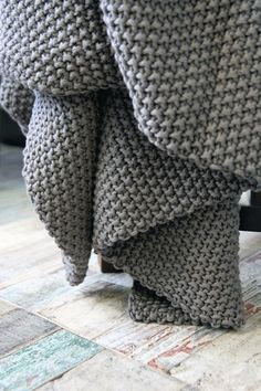 Beautifully Cosy Moss Stitch Cotton Throw - Grey/Brown