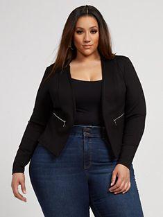 Octavia Black Zipper Detail Ponte Knit Blazer - Fashion To Figure Very Beautiful Woman, Plus Size Fashion Blog, Fashion To Figure, Figure Size, Knit Blazer, Plus Size Beauty, Curvy Women Fashion, Blazer Fashion, Plus Size Model