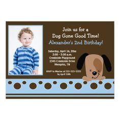 Blue Mod Puppy *PHOTO* Birthday 5x7 Custom Announcement.  $2.15