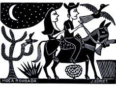 Moça Roubada - Xilogravura - J. Borges