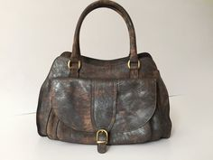 SALE ! Leather tote, Silver Brown leather bag, Women leather bag, Leather tote woman, Leather satchel tote, Leather handbag
