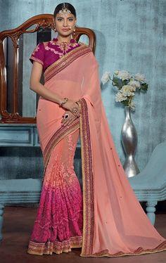 Gleaming Peach Designer Saree Online
