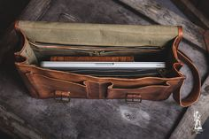 Leather Briefcase 18 / Leather Messenger Bag / Laptop by EpicLinen