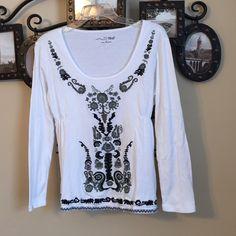 RXB white black gray embroidered boho peasant top 100% cotton Anthropologie Tops