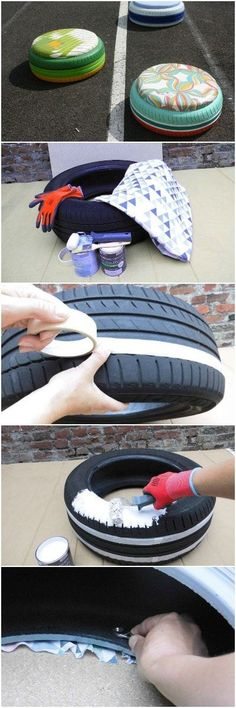 Make the Perfect Ottoman Seat - DIY Tire Seats - The Ottomans are also made in tires. Foam, a shot of paint, a lot of staples and the trick is played. There, in the back of your garage, it would not be an old tire under the dust? Rather than letting it go, give it a second life in the form of an Ottoman. And if you do not have a tire but you...