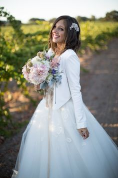 One of a Kind custom white leather wedding jacket