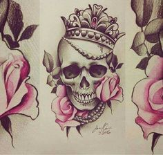 roses skull crown tattoo