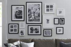 51 Stunning Living Room Wall Gallery Design Ideas - ROUNDECOR,Stunning living room wall gallery design ideas 22 - Round Decor Immortalize Your Memories with Frame Designs Nowadays, taking photos is now quite prac. Inspiration Wand, Gallery Wall Frames, Black Frames On Wall, Gallery Walls, Black Photo Frames, Gallery Wall Layout, Black And White Frames, Black White, White Art