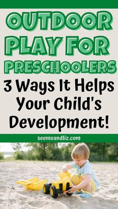 The benefits of outdoor play for preschoolers are endless. Here are the 3 main ways your child's development will be strenghtened when they are playing outside! Preschool Learning Toys, Preschool Activities At Home, Activities For 2 Year Olds, Outdoor Activities For Kids, Outdoor Learning, Infant Activities, Outdoor Play, Fun Learning, Learning Activities