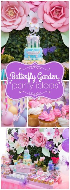 You have to see this gorgeous butterfly garden birthday party! See more party ideas at CatchMyParty.com!