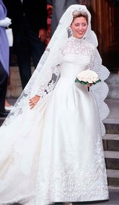It took more than 25 seamstresses to create the $225,000 ivory silk Valentino gown that the New York City socialite wore to her 1995 wedding to Crown Prince Pavlos of Greece. The tiara was borrowed from her new mother-in law.
