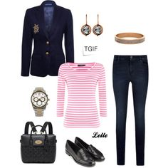 """Ralph Lauren Navy Deerskin Greenwich Jacket"" by lellelelle on Polyvore"