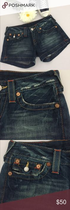"""True Religion Jessica Denim Shorts Light distressing on waistband. Zip Fly with button closure. Five Pocket style with one button-flap coin pocket. Side slots at hem. Approx inseam: 3-1/2"""". Approx rise: 8"""" front, 12"""" back  Cotton. Machine wash. In excellent hardly worn condition. Shorts Jean Shorts"""