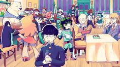Anime Crossover  Shigeo Kageyama Saitama (One-Punch Man) Izuku Midoriya Arataka Reigen Makoto Tachibana Haruka Nanase Osomatsu Matsuno Karamatsu Matsuno Choromatsu Matsuno Ichimatsu Matsuno Jyushimatsu Matsuno Todomatsu Matsuno Osomatsu-san Boku No Hero Academia My Hero Academia Mob Psycho 100 One Punch-Man Free! Cucumber (Cucumber Quest!) Panty (Panty & Stocking With Garterbelt) Panty & Stocking With Garterbelt Wallpaper