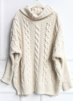 Beige High Neck Loose Cable Knit Sweater