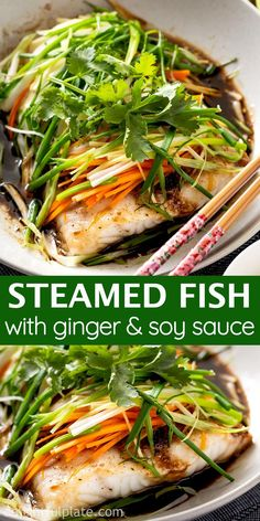 Steamed Fish with Ginger, Scallion and Soy Sauce is a restaurant-quality dish you can easily cook at home in just 30 minutes. Serve this light yet flavorful dish with rice for a healthy and delicious meal. Salmon Recipes, Asian Recipes, Healthy Recipes, Steamed Fish Recipes Healthy, Steamed Food, Chicken Recipes, Asian Dinner Recipes, Best Seafood Recipes, French Recipes