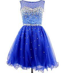 Royal Blue Beading Homecoming Dress