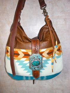 aad94c736905 Native American Leather Tote Pendleton Wool Fabric Leather Bag Purse