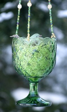 Vintage Green Diamond Pattern Glass Beaded Hanging Candle Holder or Bird Feeder