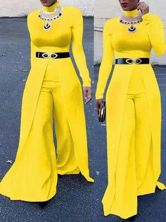 Fascinate everyone with your flawless style in this long sleeve jumpsuit. Do not forget to check our wide range of jumpsuits. Yellow Jumpsuit, Jumpsuit Outfit, African Wear, Pretty Dresses, Long Dresses, Complete Outfits, Birthday Dresses, Muslim Fashion, Occasion Dresses