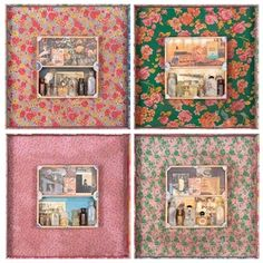 Norberto Roldan, In Search for Lost Time 13-16, asssemblage with various found objects, 47 x 47 cm each, 2010