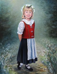 """""""Victoria"""" - commissioned oil portrait of girl in official Norwegian costume."""
