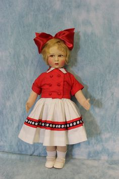 "22"" Very Beautiful Vintage Raynal Cloth Doll w Big Red Bow in Hair Mohair Wig 