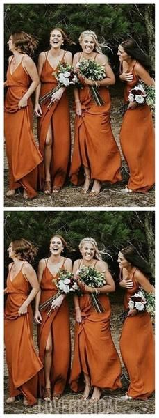 Spaghetti Straps Burnt Orange Cheap Bridesmaid Dresses, WG267 – LoverBridal #bridesmaid #wedding #bridesmaiddresses #cheapbridesmaiddresses #weddingidea #longbridesmaiddresses #bridesmaidsdresses