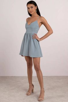 Sonya Strappy Skater Dress We know you like your skater dresses with a serving of sass. The Blue Sonya Strappy Skater Dress is a sexy fit and flare dress with a sweetheart neckl SEE DETAILS Homecoming Dresses Tight, Best Prom Dresses, Grad Dresses, School Dresses, Tight Dresses, Dance Dresses, Casual Dresses, Pink Dresses, Purple Dress