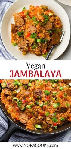 1 pot Vegan Jambalaya - Spicy full of flavor and easy to make! The typical meat is replaced with vegan sausage. Vegan Dinner Recipes, Veggie Recipes, Vegetarian Recipes, Cooking Recipes, Healthy Recipes, Vegan Soul Food Recipes, Healthy Food, Vegan Jambalaya, Jambalaya Recipe