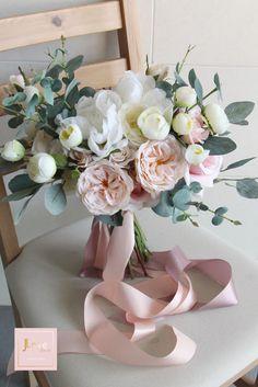 Bridal Bouquet in pretty blush and white Rustic Bridal Bouquets, Silk Bridal Bouquet, Silk Wedding Bouquets, Hand Bouquet, Bride Bouquets, Bridal Flowers, Flower Bouquet Wedding, Floral Bouquets, Blush Bouquet