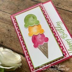 Diy Birthday Gifts For Friends, Birthday Cards For Men, Handmade Birthday Cards, Card Birthday, Cards For Men Handmade, Greeting Cards Handmade, Ice Cream Set, Embossed Cards, Stamping Up Cards
