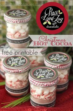 Peace, Love, Joy, and Chocolate Hot Cocoa Gift with Printable tags