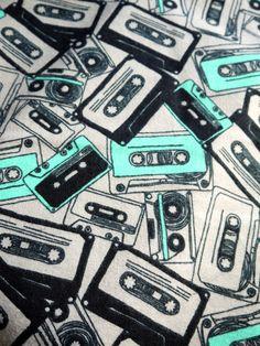 80s Music Mix Cassette Tape  - Fat Quarter Fabric Flannel Print. $6.00, via Etsy.