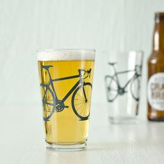 2 hand printed bike pint glass charcoal gray bicycle by vital, $24.00