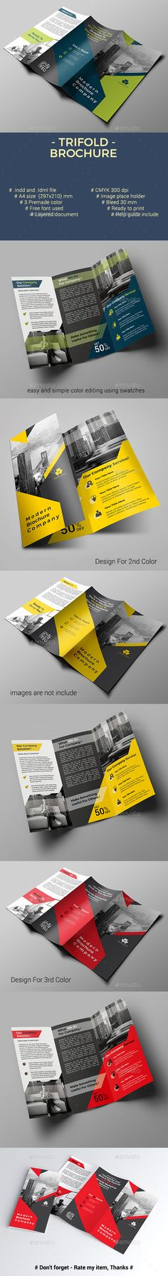 #Trifold Brochure - Corporate #Brochures Download here: https://graphicriver.net/item/trifold-brochure/20185139?ref=alena994